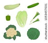 set of green vegetables ... | Shutterstock .eps vector #1053457031