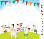 songkran  thai new year... | Shutterstock .eps vector #1053490211