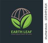 earth leaf logo template in... | Shutterstock .eps vector #1053491414