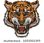 saber toothed tiger tattoo | Shutterstock .eps vector #1053501395