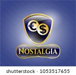 shiny emblem with currency... | Shutterstock .eps vector #1053517655