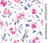 modern watercolor floral... | Shutterstock . vector #1053522971