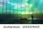 silhouette of a businessman... | Shutterstock . vector #1053529655