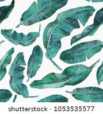 tropical seamless pattern  with ... | Shutterstock . vector #1053535577