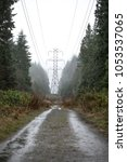 Small photo of View of an industrial power transmission tower, down a wet unpaved access road, in a rural evergreen forest during a rain storm