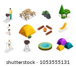 isometric set of camping icons  ... | Shutterstock .eps vector #1053555131