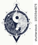 yin and yang tattoo art vector. ... | Shutterstock .eps vector #1053564875