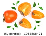 persimmon isolated on white... | Shutterstock . vector #1053568421