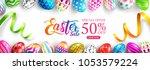 "easter sale ""50  off"" banner... | Shutterstock .eps vector #1053579224"