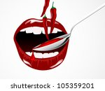 red chili peppers in woman mouth | Shutterstock .eps vector #105359201