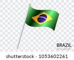 flag of brazil with flag pole... | Shutterstock .eps vector #1053602261