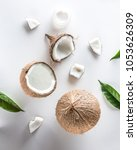 homemade coconut cosmetic with...   Shutterstock . vector #1053626309