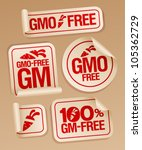 GMO free stickers set for healthy food. - stock vector