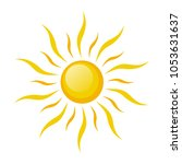sun symbol icon on white  stock ... | Shutterstock .eps vector #1053631637