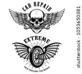 car repair emblems. wheel with... | Shutterstock .eps vector #1053650381