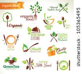 Set of vector icons and elements for organic food   Shutterstock vector #105365495