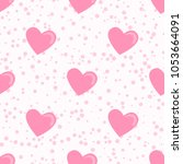 trendy pattern pink heart and...   Shutterstock .eps vector #1053664091