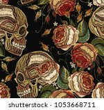 embroidery skull and roses... | Shutterstock .eps vector #1053668711