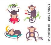 set of monkey vector | Shutterstock .eps vector #1053678071