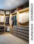 luxury walk in closet  ... | Shutterstock . vector #1053680624