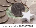 a quarter of michigan  quarters ... | Shutterstock . vector #1053687989