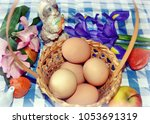 Easter Basket With Eggs  Iris...