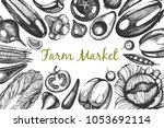 vector frame with sketch... | Shutterstock .eps vector #1053692114