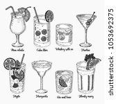 alcoholic drinks sketch set.... | Shutterstock .eps vector #1053692375