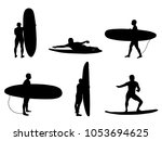 set of silhouettes of surfers.... | Shutterstock .eps vector #1053694625
