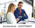 young business people are... | Shutterstock . vector #1053700847