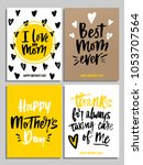 happy mother's day card set in... | Shutterstock .eps vector #1053707564