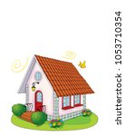 a house with a garden | Shutterstock . vector #1053710354