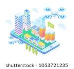modern isometric smart drone...   Shutterstock .eps vector #1053721235