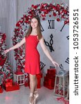nice ballet dancer in red dress ... | Shutterstock . vector #1053726551