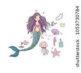 marine illustrations set.... | Shutterstock .eps vector #1053730784