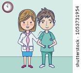 funny doctors cartoons | Shutterstock .eps vector #1053731954