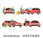 washing car services concepts... | Shutterstock . vector #1053736304