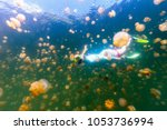 underwater photo of tourist... | Shutterstock . vector #1053736994