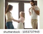 caring mother helping little... | Shutterstock . vector #1053737945