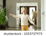 cute funny boy running in...   Shutterstock . vector #1053737975