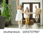 excited funny kids boy and girl ... | Shutterstock . vector #1053737987