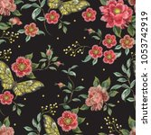 embroidery trend floral... | Shutterstock .eps vector #1053742919