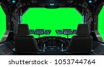 spaceship grunge interior with... | Shutterstock . vector #1053744764