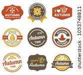 autumn label vintage vector... | Shutterstock .eps vector #1053748811