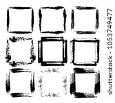set of grunge square frames.... | Shutterstock .eps vector #1053749477