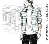 cool stylish boy in sketch... | Shutterstock .eps vector #1053763151