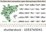 rhine ruhr metropolitam area... | Shutterstock .eps vector #1053765041