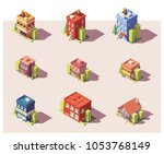 vector low poly isometric city... | Shutterstock .eps vector #1053768149