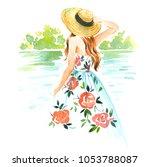 summer girl watercolor... | Shutterstock . vector #1053788087