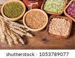 various cereals  seeds  beans...   Shutterstock . vector #1053789077